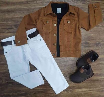 Jaqueta Marrom com Polo  Preta e Calça Jeans Branca Infantil