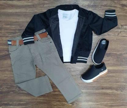 Jaqueta Preta com Camiseta Branca e Calça Jeans Infantil