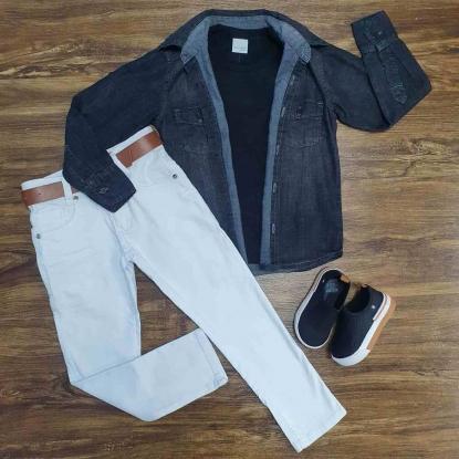 Jaqueta Preta com Camiseta e Calça Jeans Branca Infantil