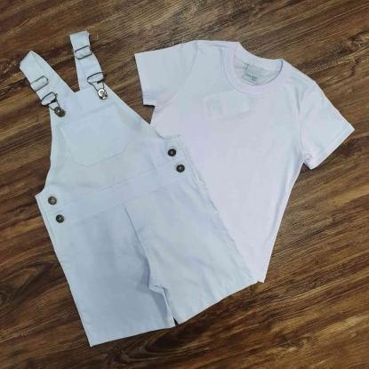 Jardineira Branca com Camiseta Básica Infantil