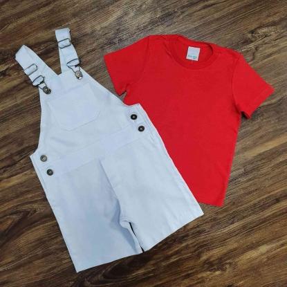 Jardineira Branca com Camiseta Vermelha Infantil
