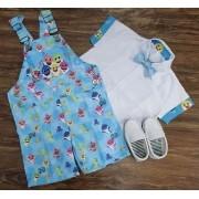 Jardineira com Camisa Baby Shark Infantil