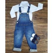 Jardineira Jeans com Body Infantil