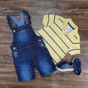 Jardineira Jeans com Polo Amarela Infantil