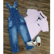 Jardineira Jeans com Camisa Polo Rosa Infantil