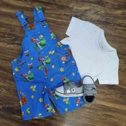 Jardineira Mario com Camiseta Infantil