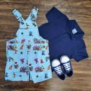 Jardineira Pocoyo com Camisa Polo Infantil