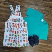Jardineira Cocomelon com Camiseta Infantil