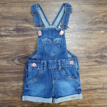 Jardineira Shorts Jeans Escuro Infantil
