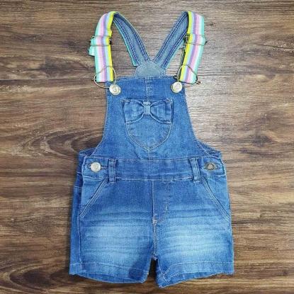 Jardineira Shorts Jeans Infantil