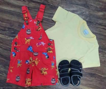 Look Amarelo Ursinho Pooh Vermelha Infantil