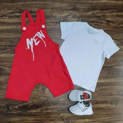 Jardineira Vermelha New com Camiseta Branca Infantil