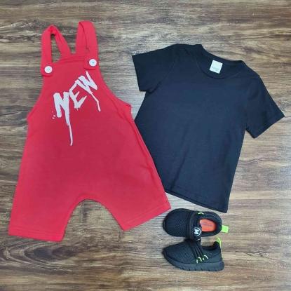 Jardineira Vermelha New com Camiseta Preta Infantil