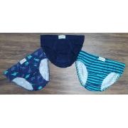 Kit 3 Cuecas Azul Dino Slip Infantil