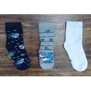 Kit 3 Pares de Meia Tubarão Infantil