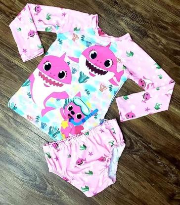 Kit Praia Baby Shark - Calcinha e Camiseta UV