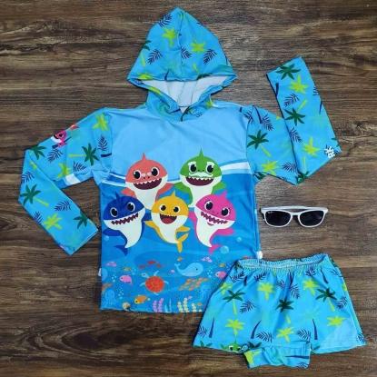 Kit Praia Baby Shark Capuz Azul Infantil