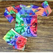 Kit Praia PJ Masks - Sunga e Camiseta UV