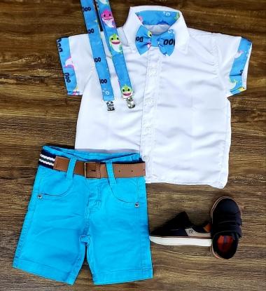 Conjunto Suspensório Baby Shark Azul Infantil