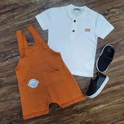 Look Jardineira Laranja com Camiseta Bata Branca Infantil