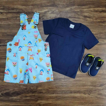Look Jardineira Palhaço Plim Plim com Camiseta Azul Infantil