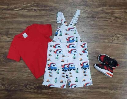 Look Léo O Caminhão Com Camiseta Vermelha Infantil