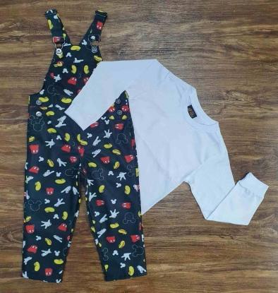 Look Mickey Com Camiseta e Jardineira Calça Infantil