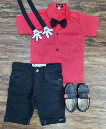 Conjunto Mickey Básico Vermelho Infantil