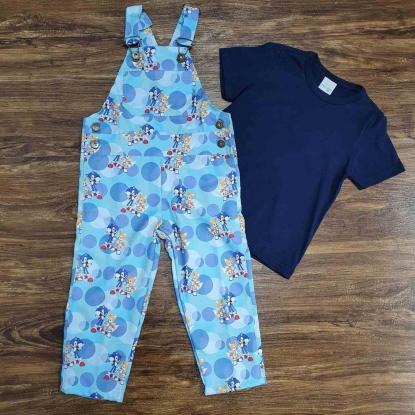 Look Sonic com Camiseta Azul Infantil