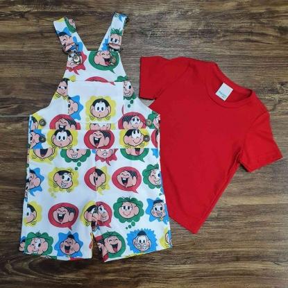 Look Turma da Mônica com Camiseta Vermelha Infantil
