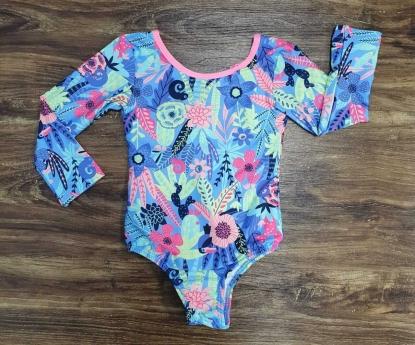 Maiô Floral Azul Infantil