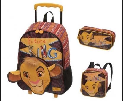Mochila de Rodinhas com Lancheira e Estojo Rei Leão