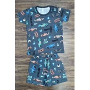 Pijama Pit Stop Cinza Infantil