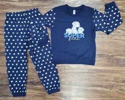 Pijama Super Filha Azul Infantil