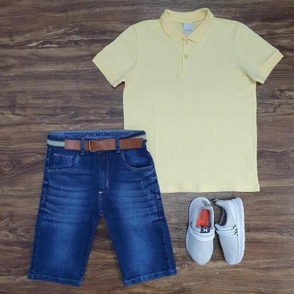 Polo Amarela Básica com Bermuda Jeans Infantil