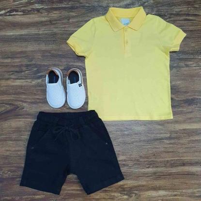 Polo Amarela com Bermuda Preta de Cordão Infantil