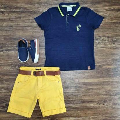 Polo Azul Praia com Bermuda Amarela Infantil