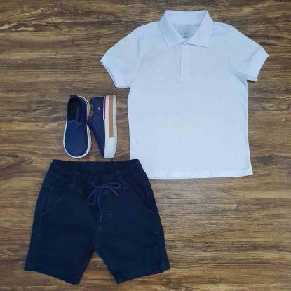 Polo Branca com Bermuda Azul Marinho Infantil