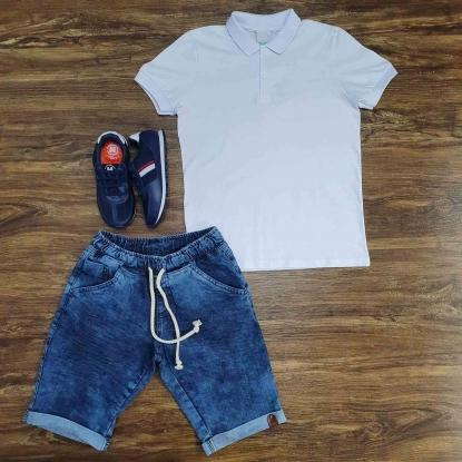 Polo Branca com Bermuda Jeans com Cordão Infantil