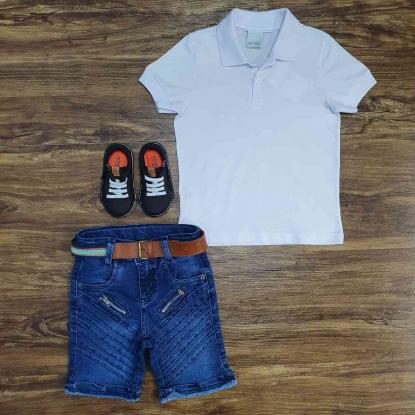 Polo Branca com Bermuda Jeans com Zíper Infantil