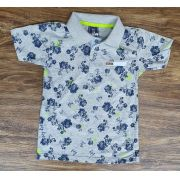 Polo Cinza Floral Infantil