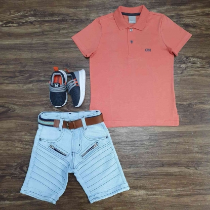 Polo Coral com Bermuda Jeans Infantil