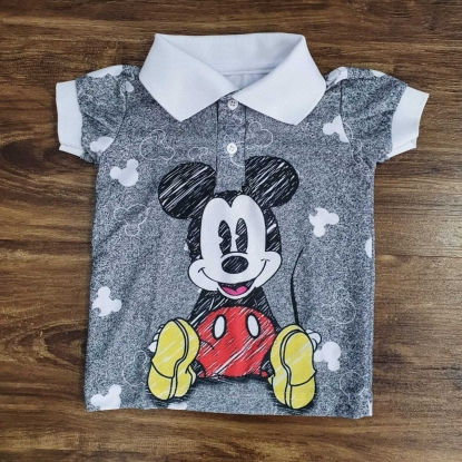 Polo Cinza Mickey Infantil