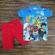 Polo Pokémon com Bermuda Vermelha Infantil