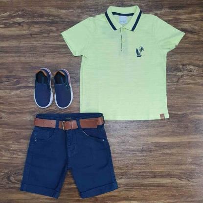 Polo Praia Amarela Com Bermuda Azul Infantil