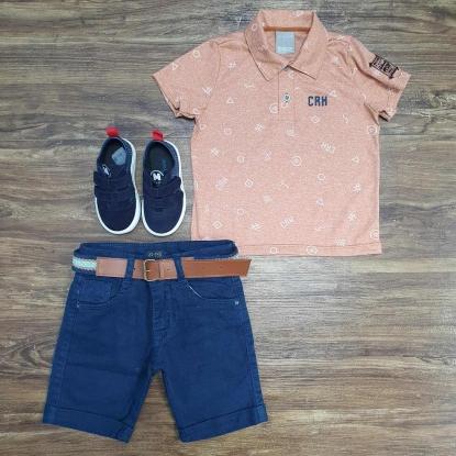 Polo Salmão CRH com Bermuda Azul Jeans Infantil