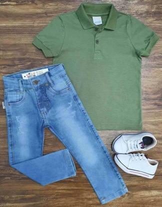 Polo Verde Musgo com Calça Jeans Infantil