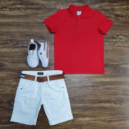 Polo Vermelha com Bermuda Branca Infantil