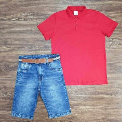 Polo Vermelha com Bermuda Jeans Infantil
