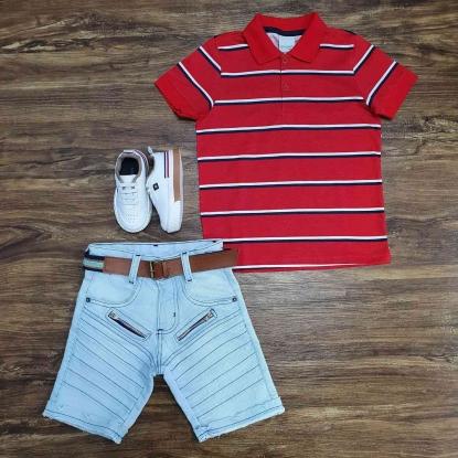 Polo Vermelha Listrada com Bermuda Jeans Infantil